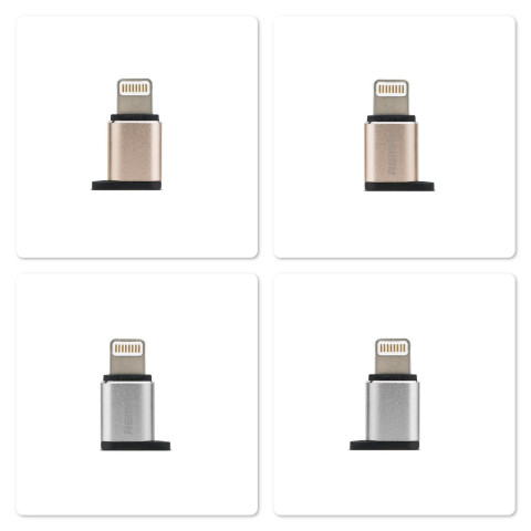 Адаптер разьема зарядки с микро-USB на Apple iPhone 6, Remax золотистый