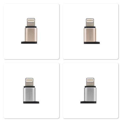 Адаптер разьема зарядки с микро-USB на Apple iPhone 6, Remax серебристый
