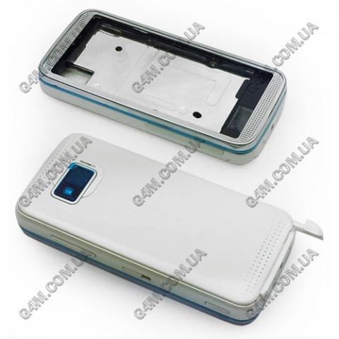 Корпус Nokia 5530 Xpress Music белый с голубым кантом (High Copy)