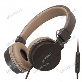 Гарнитура GORSUN GS-779 с микрофоном, коричневая