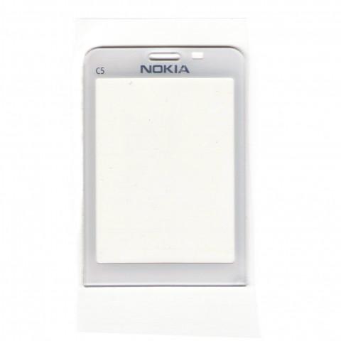 Стекло на корпус Nokia C5-00 белое с клейкой лентой