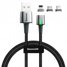 USB дата-кабель Baseus Zinc Magnetic Kit 3 в 1 (Lightning, MicroUSB, Type-C) (TZCAXC-B01)