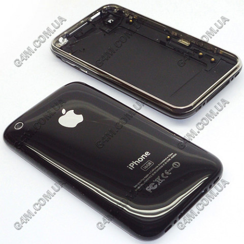 Задняя крышка Apple iPhone 3GS 16Gb черная с рамкой (High copy)