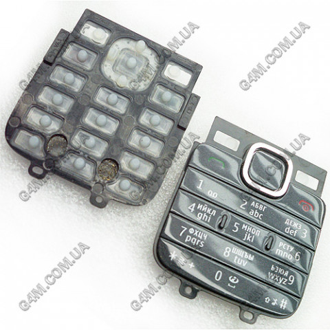 Клавиатура Nokia C1-01, C2-00 темно-серая, русская (Оригинал)