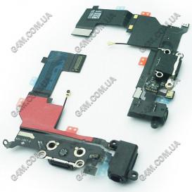Шлейф Apple iPhone 5S с коннектором зарядки черная (Оригинал China)